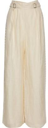 Zimmermann Crochet-Trimmed Silk And Linen-Blend Wide-Leg Pants