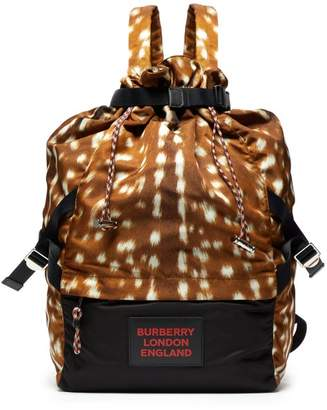 Burberry Animal Print Drawstring Backpack - Mens - Brown Multi
