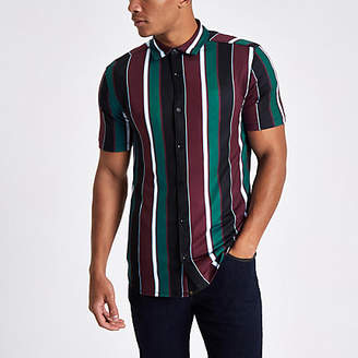 River Island Burgundy vertical stripe button-up shirt