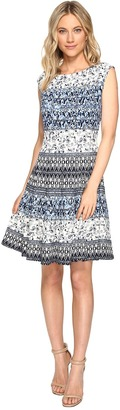 Christin Michaels - Adriane Printed Fit and Flare Dress Women's Dress $94 thestylecure.com