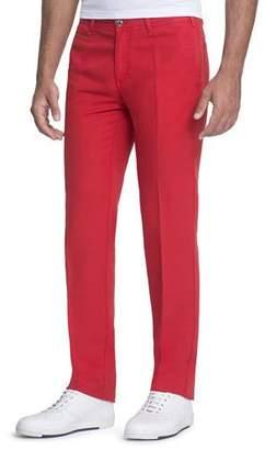 Stefano Ricci Linen-Blend Pants with Suede Details
