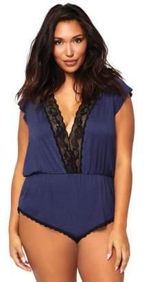 Leg Avenue Women's Plus Size Brushed Jersey Romper Lounge and Sleepwear Pajama Set Nightie, Navy/Black, 3X-4X