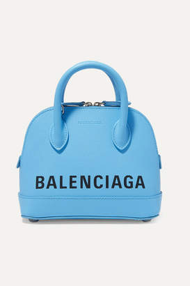 Balenciaga Ville Xxs Aj Printed Textured-leather Tote - Blue