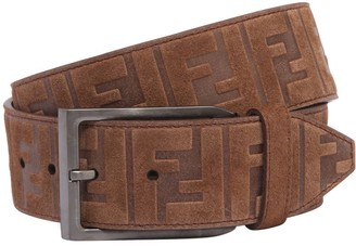 Fendi 40mm Ff Signature Embossed Suede Belt