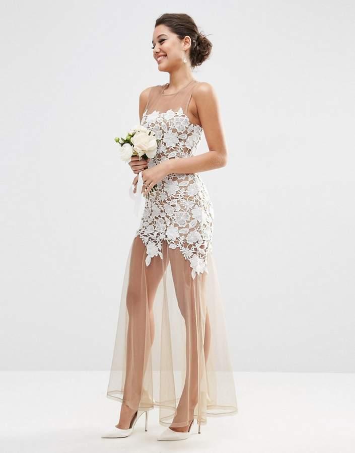 AsosASOS BRIDAL Lace Placed Maxi Dress On Naked Mesh