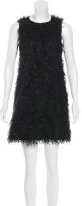 RED Valentino Faux Mongolian Lamb Mini Dress