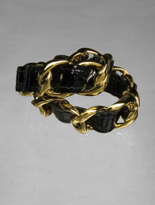 CC Skye Leather Woven Gold Chain Double Wrap Bracelet