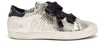 P448 'Ralph' bow tie croc embossed leather sneakers