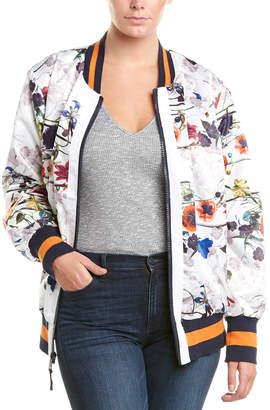 Rachel Roy Plus Floral Bomber Jacket