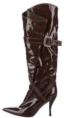 Sergio Rossi Patent Leather Knee-High Boots