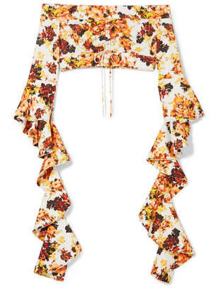 Ellery High Noon Off-the-shoulder Ruffled Floral-print Crepe Top - Orange