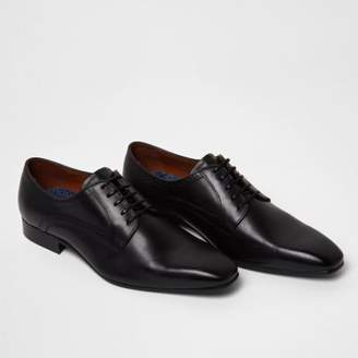 River Island Blacks square toe leather derby shoes
