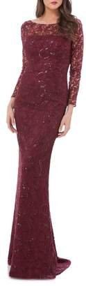 Carmen Marc Valvo Sequin Lace Mermaid Gown