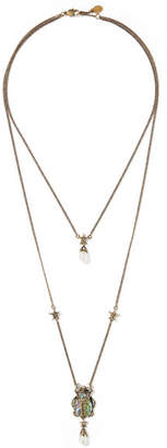 Alexander McQueen Layered Gold-tone, Swarovski Crystal And Faux Pearl Necklace