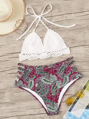 Shein Plus Crochet Halter Top With Paisley Bikini