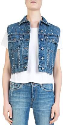 The Kooples Cropped Studded Denim Vest