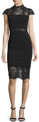 Alice + Olivia Kim Lace-Inset Sheath Dress $440 thestylecure.com