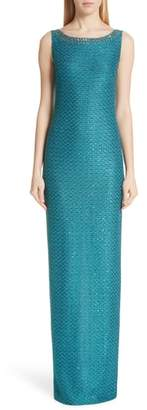 St. John Shimmer Sequin Knit Column Gown