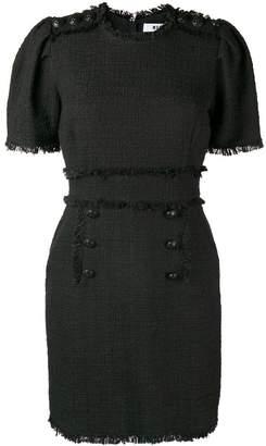 MSGM bouclé tweed frayed dress