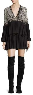 Free People Dusk Till Dawn Embroidered Mini Dress $148 thestylecure.com