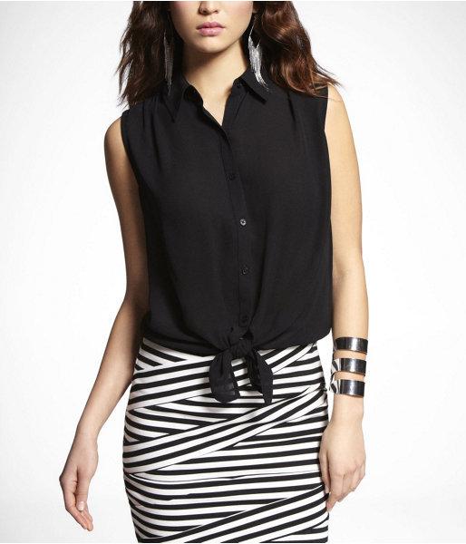 Sleeveless Tie-Front Shirt