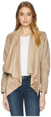 Blank NYC Faux Suede Drape Front Jacket in Hump Day Women's Coat