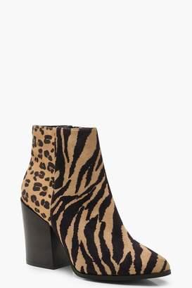 boohoo Mix Animal Western Boots