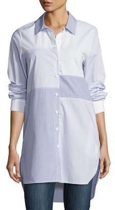 French Connection City Stripe Patchwork Tunic Shirtdress $128 thestylecure.com