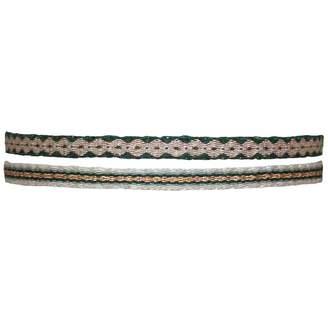 LeJu London - Set of Two Handwoven Bracelets in Green & Gold