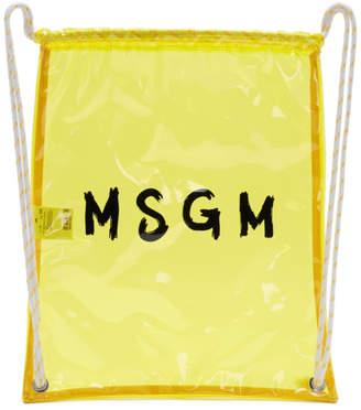 MSGM Yellow PVC Logo Backpack