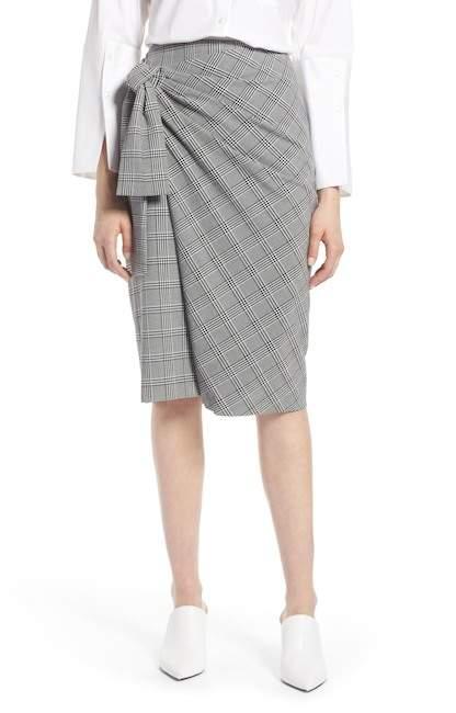 Halogen(R) Side Tie Plaid Pencil Skirt (Regular & Petite)