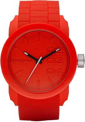 Diesel Men's Double Down Red Silicone Strap Watch 44mm DZ1440 $100 thestylecure.com