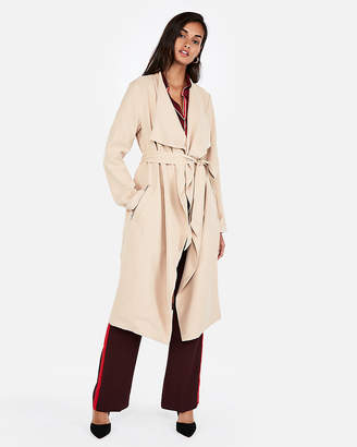 Express Petite Zip Pocket Soft Trench Coat