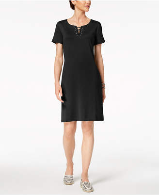 Karen Scott Petite Lace-Up Dress, Created for Macy's