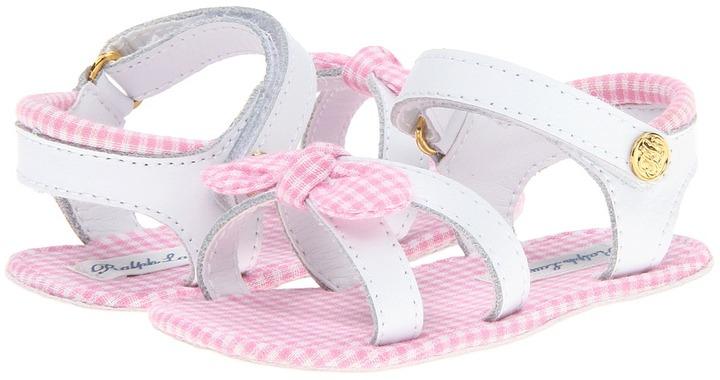 Ralph Lauren Westfield (Infant/Toddler) (White Leather/Pink Gingham) - Footwear
