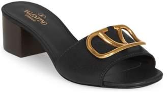Valentino Logo Pendant Mule Sandals