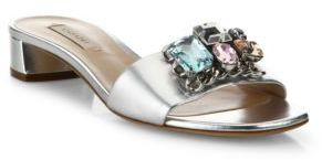 Casadei Jeweled Metallic Leather Slides $595 thestylecure.com