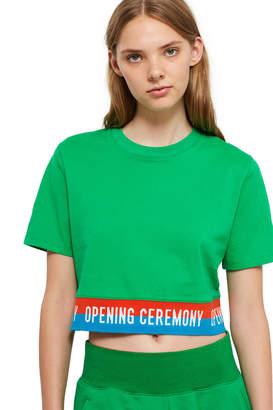 $50 $100 Green Elastic Logo Cropped Tee