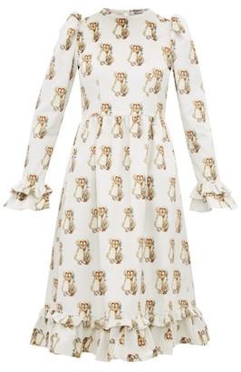 Batsheva Holly Hobbie Print Cotton Velvet Dress - Womens - White