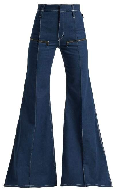 Contrast Topstitching Flared Jeans - Womens - Dark Blue