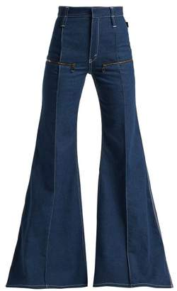 Chloé Contrast Topstitching Flared Jeans - Womens - Dark Blue