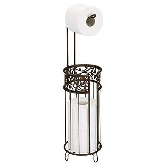 mDesign Metal Freestanding Toilet Paper Roll Holder Stand and Dispenser with Storage for 3 Rolls of Reserve Toilet Tissue - for Bathroom Storage Organizing - Holds Mega Rolls