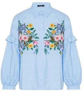 Raoul Ruffle-Trimmed Embroidered Cotton-Poplin Blouse