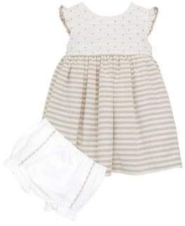 Luli and Me Baby's Lace Linen Striped Dress