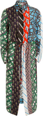 Carven Mied Print Pleated Shirt Dress