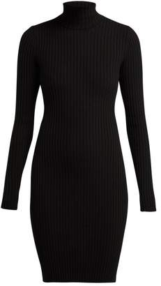 Wolford Rib Knitted Roll Neck Wool Blend Dress - Womens - Black