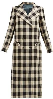 BLAZÉ MILANO Pequod Double Breasted Check Linen Coat - Womens - Black White