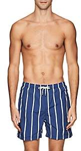 Solid & Striped Men's The Classic Striped Cotton-Blend Swim Trunks-Navy
