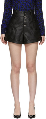 Saint Laurent Black Leather Western-Style High-Waisted Shorts