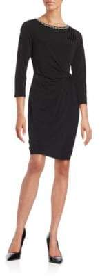 Ellen Tracy Side Ruched Embellished Three Quarter Sleeve Sheath Dress